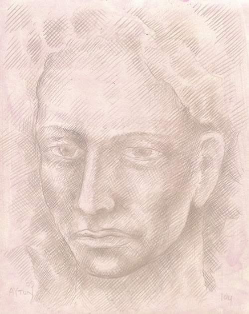 Dissolving Head silverpoint by William T. Ayton