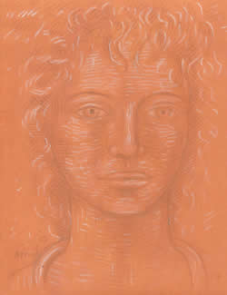 Young Girl on Burnt Ochre Ground silverpoint