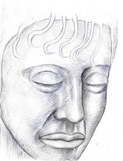 Large Head with Closed Eyes silverpoint