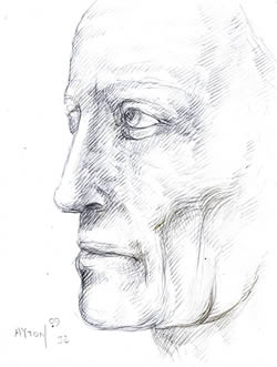 Profile of a Man's Head silverpoint